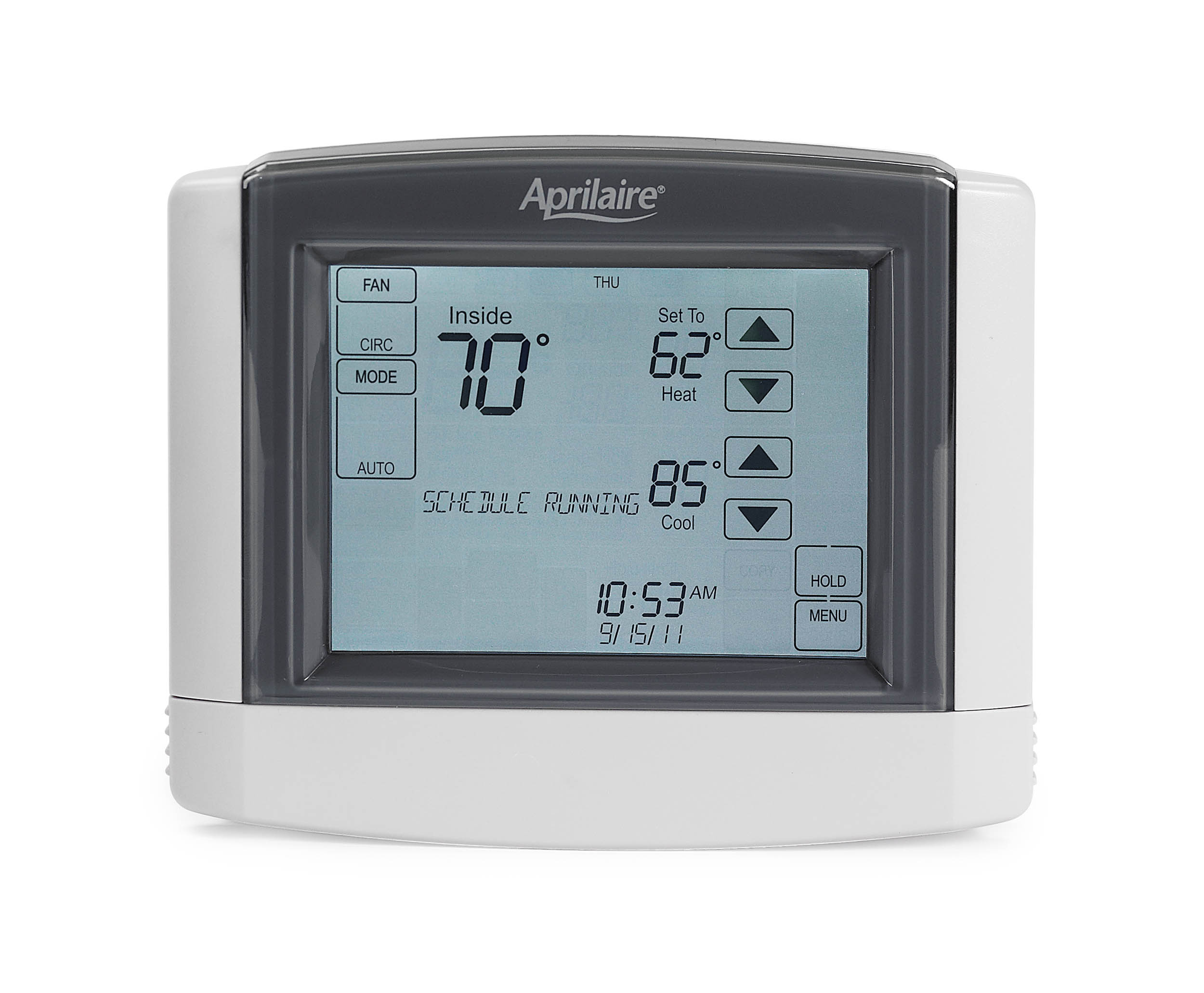 This integrates dehumidifier control into a programmable thermostat  #526F79